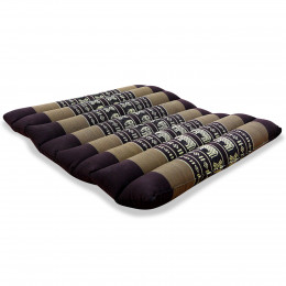 Kapok Quilted Seat Cushion, Size M, brown elephants
