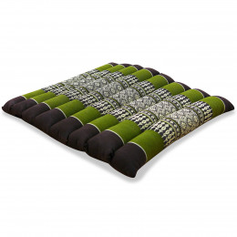 Kapok Quilted Seat Cushion, Size M, brown / green