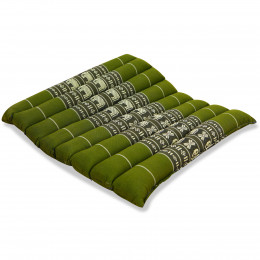 Kapok Quilted Seat Cushion, Size M, green elephants