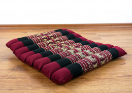 Kapok Quilted Seat Cushion, Size M, red elephants