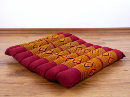Kapok Quilted Seat Cushion, Size M, red / yellow
