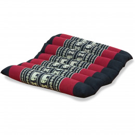 Kapok Quilted Seat Cushion, Size M, black elephants
