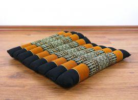 Kapok Quilted Seat Cushion, Size M, black / orange