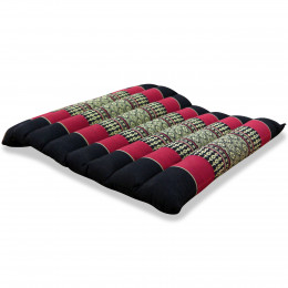 Kapok Quilted Seat Cushion, Size M, black / red