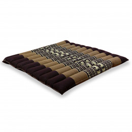 Kapok Quilted Seat Cushion, Size L,  brown elephants