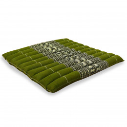 Kapok Quilted Seat Cushion, Size L, green elephants