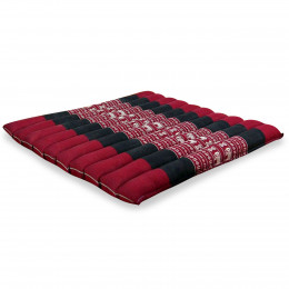 Kapok Quilted Seat Cushion, Size L, red elephants