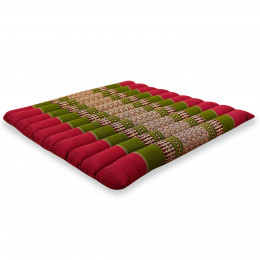 Kapok Quilted Seat Cushion, Size L,  red / green