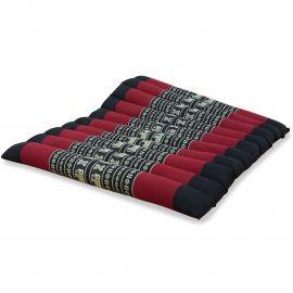 Kapok Quilted Seat Cushion, Size L,  black elephants