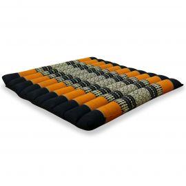 Kapok Quilted Seat Cushion, Size L,  black / orange