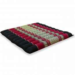 Kapok Quilted Seat Cushion, Size L,  black / red