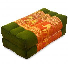 Block pillow, Silk, green-orange / elephants