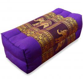 Block pillow, Silk, purple / elephants