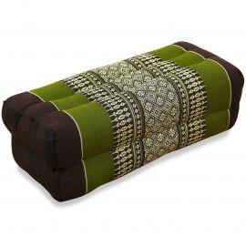 Block pillow, brown / green