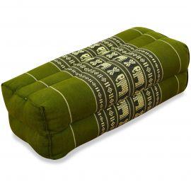 Block pillow, green / elephants