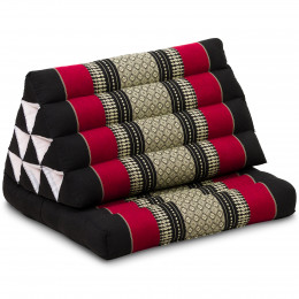 Thai Cushion 1 Fold, black / red