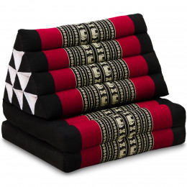 Thai Cushion 2 Fold, black elephants