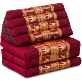 Thai Cushion 3 Fold, silk, red/elephant