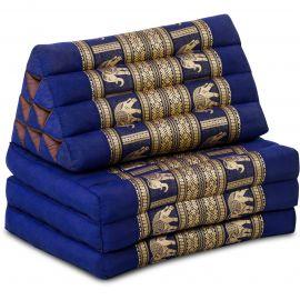 Thai Cushion 3 Fold, silk, blue/elephant