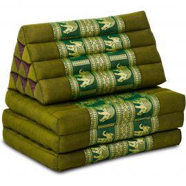 Thai Cushion 3 Fold, silk, green/elephant
