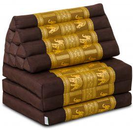 Thai Cushion 3 Fold, silk, dark brown-gold/elephant