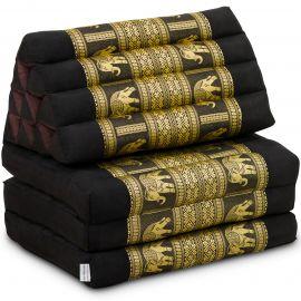 Thai Cushion 3 Fold, silk, black/elephant