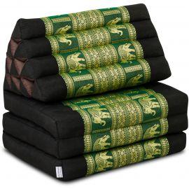 Thai Cushion 3 Fold, silk, black-green/elephant
