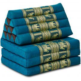 Thai Cushion 3 Fold, silk, light blue/elephant