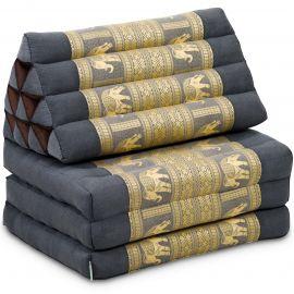 Thai Cushion 3 Fold, silk, grey/elephant