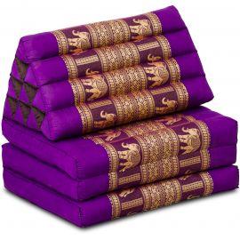 Thai Cushion 3 Fold, silk, purple/elephant