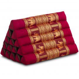 Triangle Cushion XXL-Height, silk, red / elephants