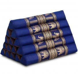 Triangle Cushion XXL-Height, silk, blue / elephants