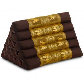 Triangle Cushion XXL-Height, silk, brown-gold / elephants