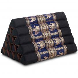 Triangle Cushion XXL-Height, silk, black-blue / elephants