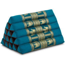 Triangle Cushion XXL-Height, silk, light blue / elephants