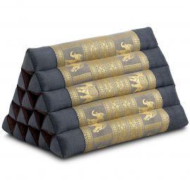 Triangle Cushion XXL-Height, silk, grey / elephants