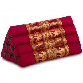 Triangle Cushion, silk, red / elephants