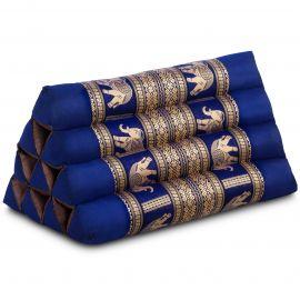 Triangle Cushion, silk, blue / elephants