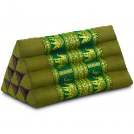 Triangle Cushion, silk, green / elephants