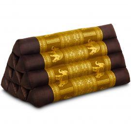 Triangle Cushion, silk, brown-gold / elephants