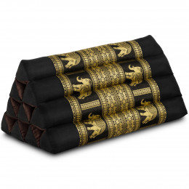 Triangle Cushion, silk, black / elephants