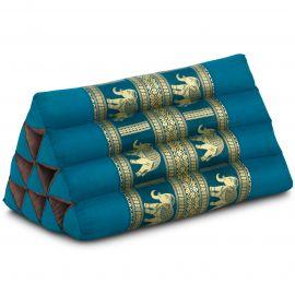 Triangle Cushion, silk, light blue / elephants