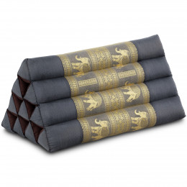 Triangle Cushion, silk, grey / elephants