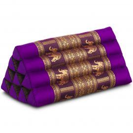 Triangle Cushion, silk, purple / elephants