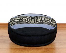 Kapok, Zafu Cushion + Quilted Seat Cushion Size XL, blue / elephants