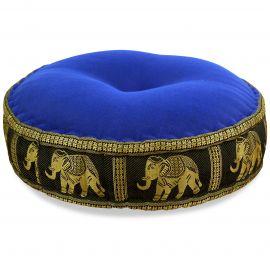 Zafu Pillow, silk, blue / black elephants