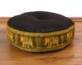 Zafu Pillow, silk, brown / gold elephants