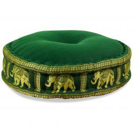 Zafu Pillow, silk, dark green elephants