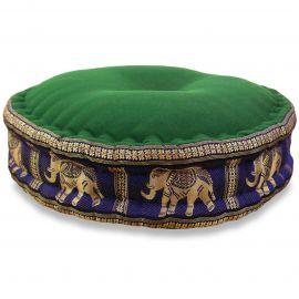 Zafu Pillow, silk, green / blue elephants