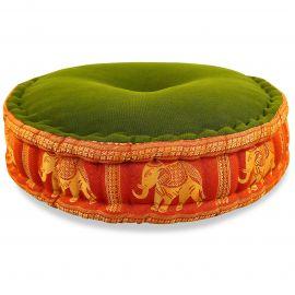 Zafu Pillow, silk, green-orange elephants